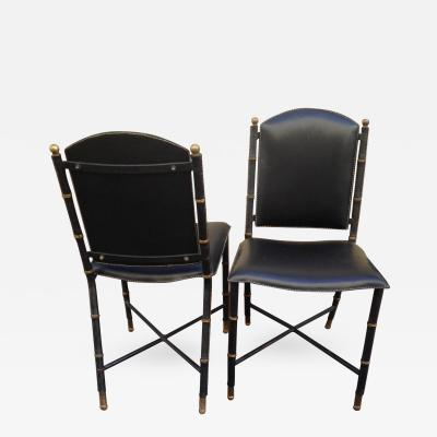 Jacques Adnet Jacques Adnet Rare Vintage Pair of Hand Stitched Black Leather Chairs