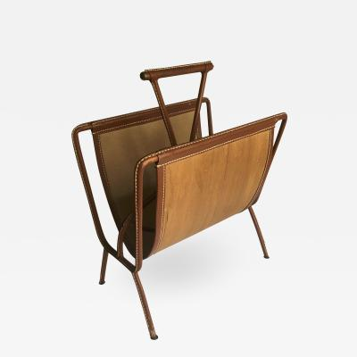 Jacques Adnet Jacques Adnet Rarest Magazine Rack in Hand Stitched Leather and Canvas