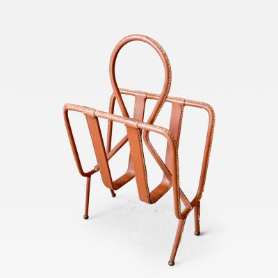 Jacques Adnet Jacques Adnet Saddle Leather Magazine Rack