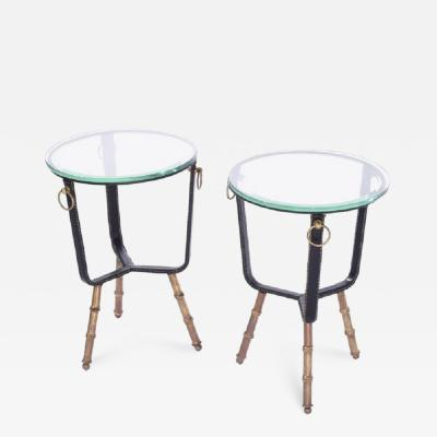 Jacques Adnet Jacques Adnet Stitched Leather Side Tables
