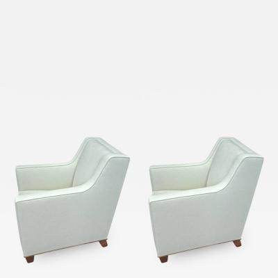 Jacques Adnet Jacques Adnet Superb Pure Design Pair of Club Chairs Fully Restored