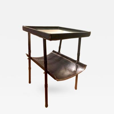 Jacques Adnet Jacques Adnet Two Tier Side Table and Magazine Rack in Black Leather