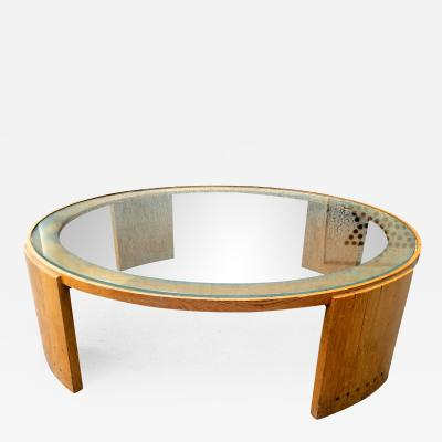 Jacques Adnet Jacques Adnet Very Large Round Coffee Table in Oak and Glass Top