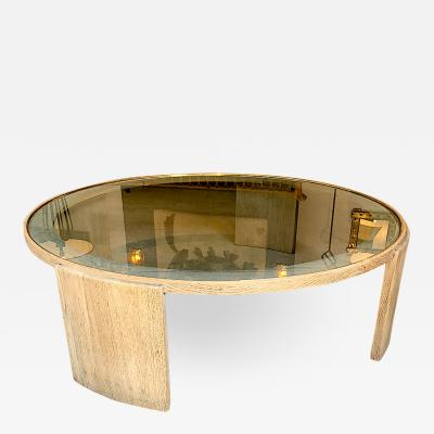 Jacques Adnet Jacques Adnet Very Large Round Coffee Table in cerused Oak