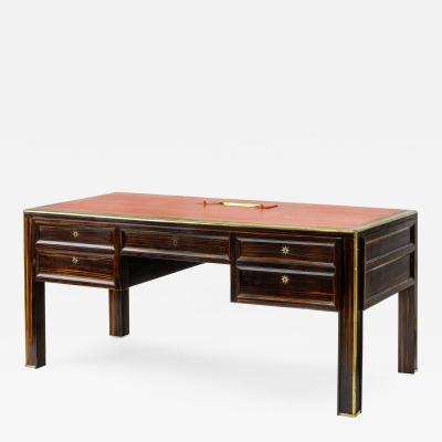 Jacques Adnet Jacques Adnet documented presidential makassar gold bronze accent desk