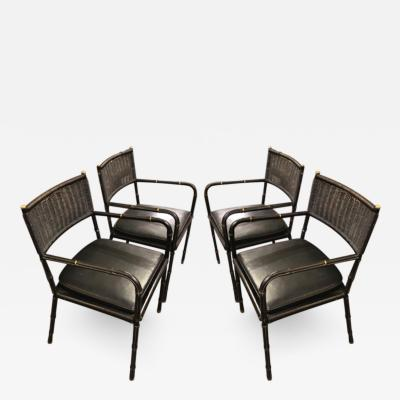 Jacques Adnet Jacques Adnet exceptional set of 4 black rattan and leather chairs