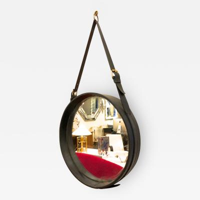 Jacques Adnet Jacques Adnet hand stitched black leather mirror