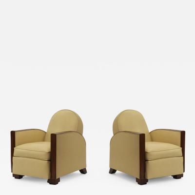 Jacques Adnet Jacques Adnet pair of art deco comfy club chairs