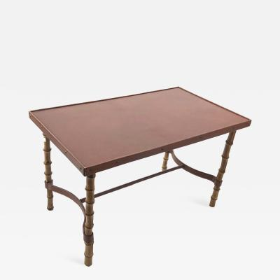 Jacques Adnet Jacques Adnet rare bamboo and hand stitched brown leather coffee table