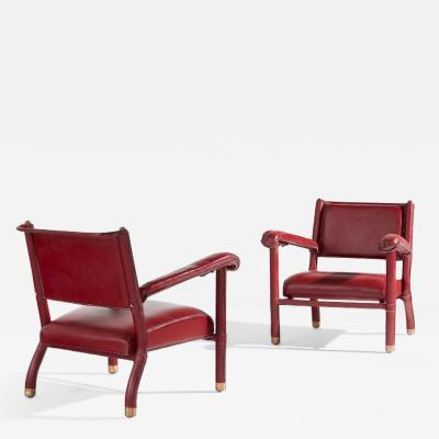 Jacques Adnet Jacques Adnet rare pair of red hermes hand stitched leather of lounge chairs