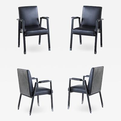 Jacques Adnet Jacques Adnet rare set of 4 black hand stitched leather arm chairs