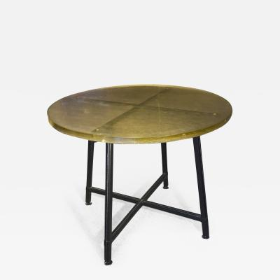 Jacques Adnet Jacques Adnet rarest hand stiched dinning table with a St Gobain top