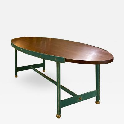 Jacques Adnet Jacques Adnet rarest long oval coffee table