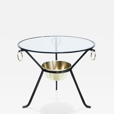 Jacques Adnet Jacques Adnet side table gueridon iron and brass 1950s