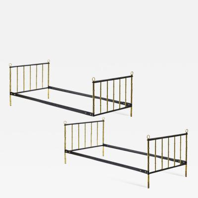 Jacques Adnet Jacques Adnet stunning pair black hand stitched good vintage condition day bed