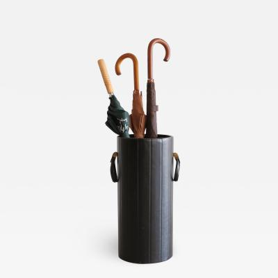 Jacques Adnet LEATHER UMBRELLA STAND IN THE MANNER OF JACQUES ADNET