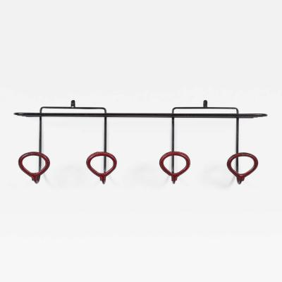 Jacques Adnet Leather Wrapped Coat Rack in the Style of Jacques Adnet
