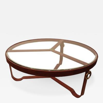 Jacques Adnet Leather and Glass Cocktail Table attributed to Jacques Adnet Circa 1950s