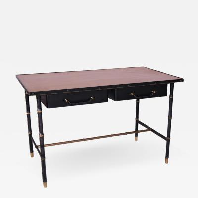 Jacques Adnet Leather stitched wrapped Desk with Oak Veneer Top