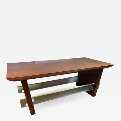 Jacques Adnet Mahogany and Saint Gobain Glass Cocktail Table Attributed to Adnet