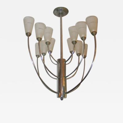 Jacques Adnet Mid Century Modern Nickel Satin Glass Chandelier Attributed to Jacques Adnet