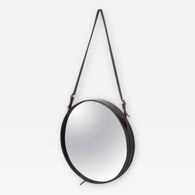 Jacques Adnet Mirror in Black Leather by Jacques Adnet France 1950