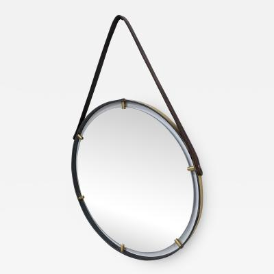 Jacques Adnet Modernist Jacques Adnet Era Brass Round Wall Mirror Equestrian Leather Frame