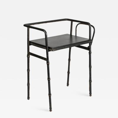 Jacques Adnet Nice stitched Leather Side table by Jacques Adnet