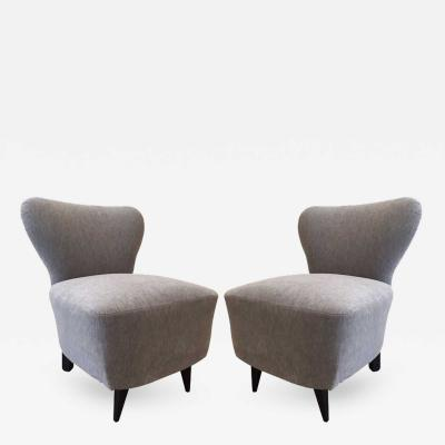Jacques Adnet Pair of 1930s French Slipper Chairs Style of Jacques Adnet