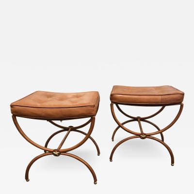 Jacques Adnet Pair of 1950s Stitched Leather Stools by Jacques Adnet