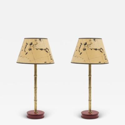 Jacques Adnet Pair of 1950s Stitched leather lamps