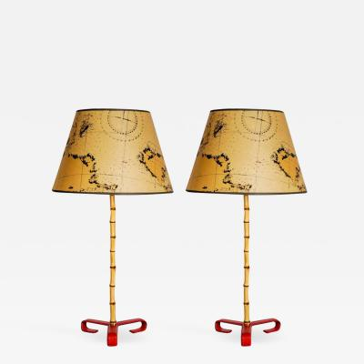 Jacques Adnet Pair of Bambou Stitched Leather lamps BY Jacques Adnet