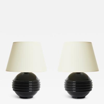 Jacques Adnet Pair of Black Glass Table Lamps by Jacques Adnet