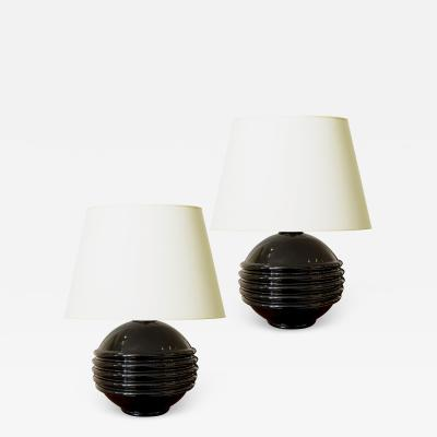 Jacques Adnet Pair of Black Opaline Glass Lamps in the Style of Jacques Adnet