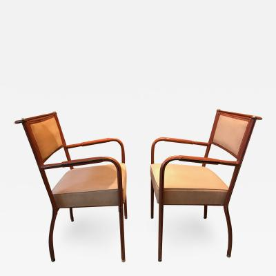 Jacques Adnet Pair of Desk Armchairs France 1950s