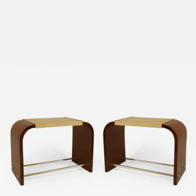 Jacques Adnet Pair of French 1920s Palisander End Tables