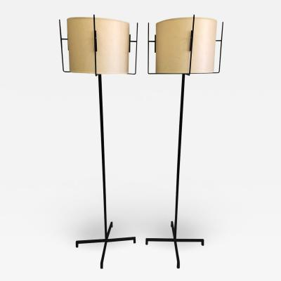 Jacques Adnet Pair of French Mid Century Modern Iron Parchment Floor Lamps by Jacques Adnet