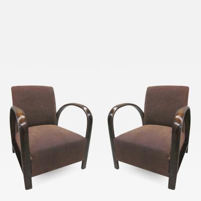 Jacques Adnet Pair of French Mid Century Modern Lounge Chairs in Style of Jacques Adnet 1930