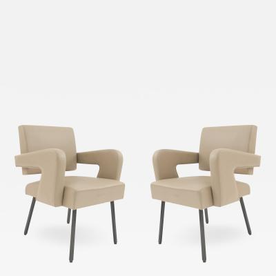 Jacques Adnet Pair of French Mid Century Open Arm Chairs