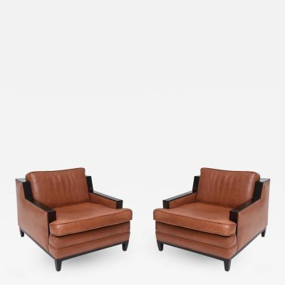Jacques Adnet Pair of French Modern Leather Club Chairs Attributed to Jacques Adnet 1940s