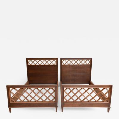 Jacques Adnet Pair of French Modern Mahogany and Fruitwood Beds