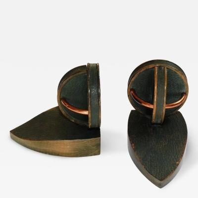 Jacques Adnet Pair of Geometric Bookends in the Style of Jacques Adnet