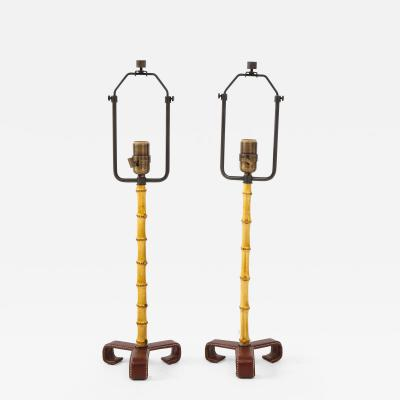 Jacques Adnet Pair of Jacques Adnet Bamboo Table Lamps