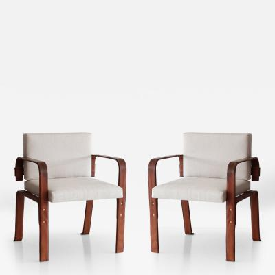 Jacques Adnet Pair of Leather Wrapped Chairs by Jacques Adnet