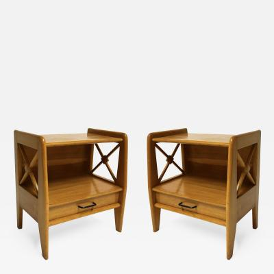 Jacques Adnet Pair of Oak Wood Side or Night Tables by Jacques Adnet France 1950s