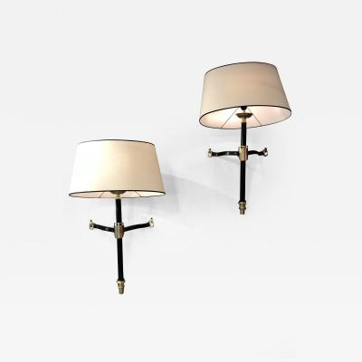 Jacques Adnet Pair of Sconces by Jacques Adnet France 1950s
