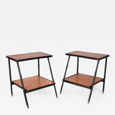 Jacques Adnet Pair of Side Tables in Leather and Oak Veneer