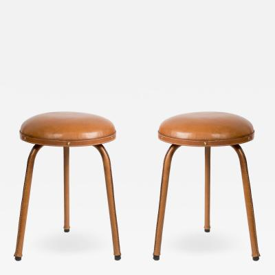 Jacques Adnet Pair of Stitched Leather Stools By Jacques Adnet