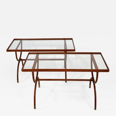 Jacques Adnet Pair of Stitched Leather and Glass Tables