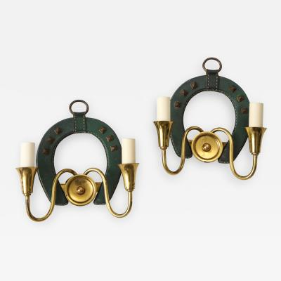 Jacques Adnet Pair of Stitched Leather sconces by Jacques Adnet